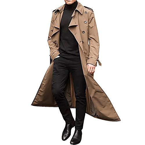Vertvie Homme Manteau Hiver Long Trench-Coat à Manches Longues Double Boutonnage Pardessus Col Revers Classique Manteaux Coupe Vent Blouson Parka Outwear Mode (M, Kaki)