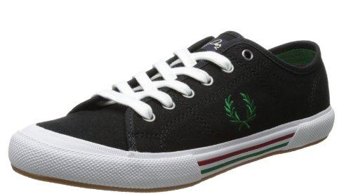Fred Perry - Fred Perry scarpe da tennis in tela stile vintage colore nero/verde Uomo, Black, 40