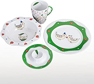 Cmielow Porcelain Fine China Children's Dinnerware Set with Chickens Includes Plate, Bowl, Cup and Egg Holder - Made in Poland