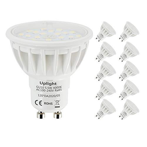 GU10 LED Lampe Ersatz 50-60W Neutralweiß 4000k Nicht Dimmbar 600Lm Ra85 10er Pack。