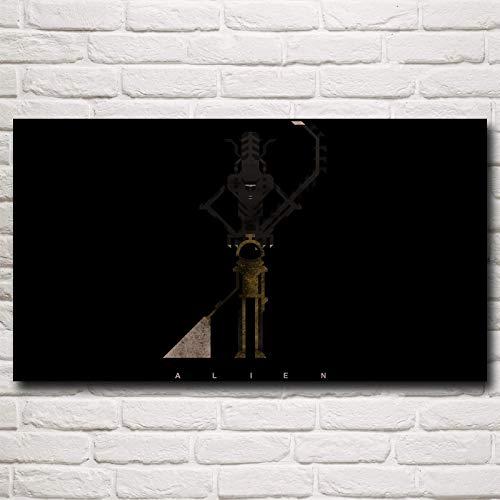N / A Rahmenlose Malerei Alien einfache Hintergrundkunst Film Seide Poster Wanddekoration33X60cm