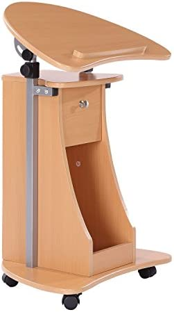 HOMCOM Height Adjustable Laptop Cart Rolling Mobile Podium Desk Stand with Swivel Top Storage product image