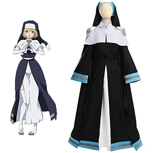 QQA Cosplay Kostüm für Damen Iris Halloween Party Kleid Anime Sengende Feuerwehr Nonnenkleidung,Schwarz,XL