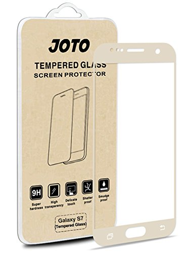 Samsung Galaxy S7 Full Coverage Glass Screen Protector - JOTO Full Screen Tempered Glass Screen Protector Film, Edge to Edge Screen Guard Saver for Samsung Galaxy S7 (1 Pack, Gold)