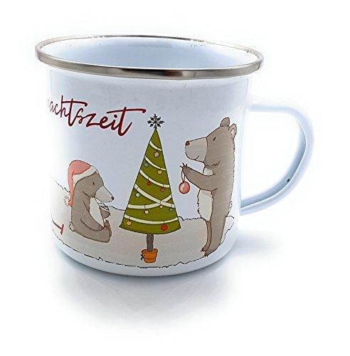 Emaille Tasse Kinder Weihnachtszeit Kinderpunsch Kakaotasse Teetasse Bär Blechtasse bunt