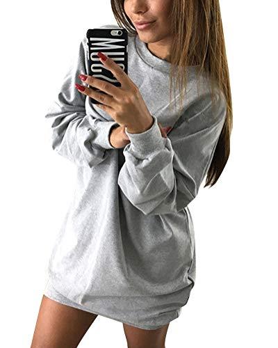 Minetom Damen Langarm Sweatshirt Herbst Winter Lange Pullover Einfarbig Pulli Sexy Oversize Tunika Mini Kleid Casual Lose Rundhals Tops Grau DE 38
