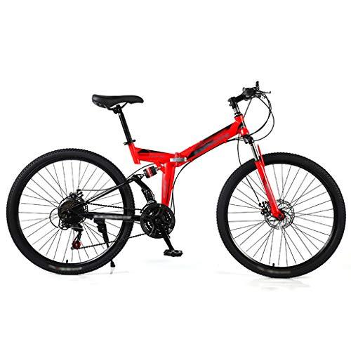 LWZ Outroad Folding Mountain Bike 26 Inch Wheels 21 Speed Double Disc Brake Bicycle Shock Absorption Mountain Trail Bike