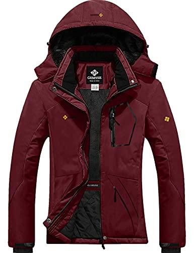 GEMYSE Femme Veste de Ski Imperméable de Montagne Manteau d'hiver Extérieur en Polaire Coupe-Vent avec Capuche (Vin Rouge,S)