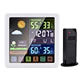 Wireless Weather Station-Indoor and Outdoor Thermometer and Hygrometer with Sensor Color LCD Display Weather Forecast Alarm Clock Digital Temperature and Humidity Monitor