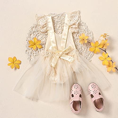 Baby Mädchen 1. Geburtstag Outfit Outfits ärmellos Rüschen Spitze Strampler Tutu Kleid Prinzessin Kleid Bodysuit Overall Partykleid (Farbe: Gelb, Größe: 6-9 Monate)