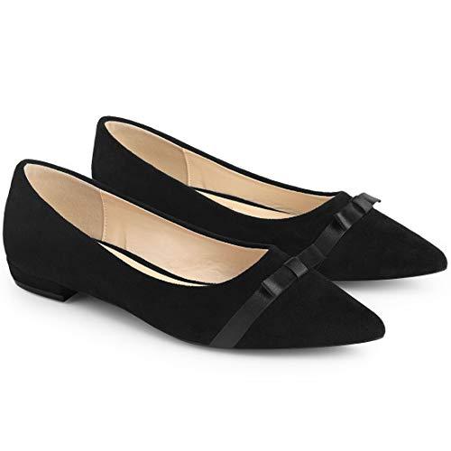 Allegra K Damen Spitzer Zehen-Slip-On Ballettschuhe Flache Schuhe, Schwarz (schwarz), 38.5 EU