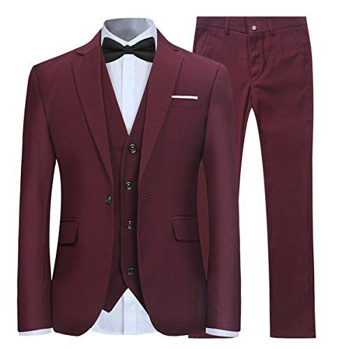 Anzug Herren Slim Fit 3 Teilig Anzüge Modern Herrenanzug 3-Teilig Sakko Hose Weste für Business Hochzeit Weinrot X-Large