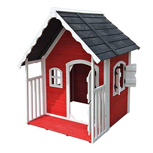 Wiltec Casa casetta Giochi per Bambini in Legno con Veranda Giardino Esterno