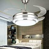 Ventilatore da soffitto moderno con 4 ali retrattili a LED, 3 colori, 3 velocità, 3 velocità, lampadario per uccelli con telecomando