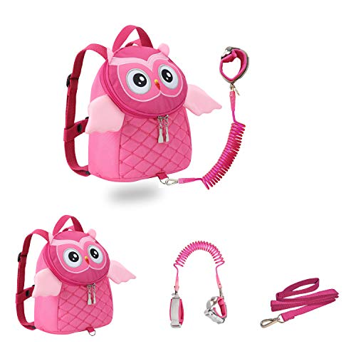 JIANBAO Owl Toddler Backpacks with Leashes Anti Lost Wrist Link for 1.5 to 3 Years Kids Girls Boys Safety (Owl, Pink)