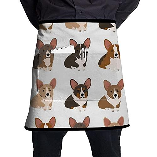 Grembiule Bulldog francese con cintura regolabile, grembiule con grande tasca, adatto per uomini e donne di diverse forme del corpo