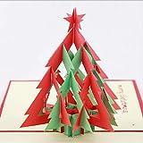 Tarjeta de Navidad hecha a mano de BC Worldwide Ltd, tarjeta de felicitación, tarjeta emergente 3D, tarjeta de origami, árbol de Navidad, conífera verde perenne verde roja de Navidad