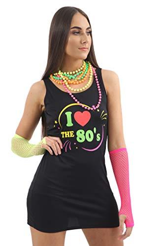 CRAZY CHICK® Damen Kostüm I Love The 80er Jahre Popstar Junggesellinnenabschied, Kostüm, Größe 36-44 Gr. L, Schwarz