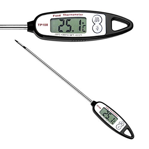 AAMASS Digital Food Cooking Thermometer - Best Instant Read Meat Candy Thermometer with LCD Screen, Anti-Corrosion, Best for Kitchen, Grill, BBQ, Milk, and Bath Water, Long Probe - Auto Shutdown