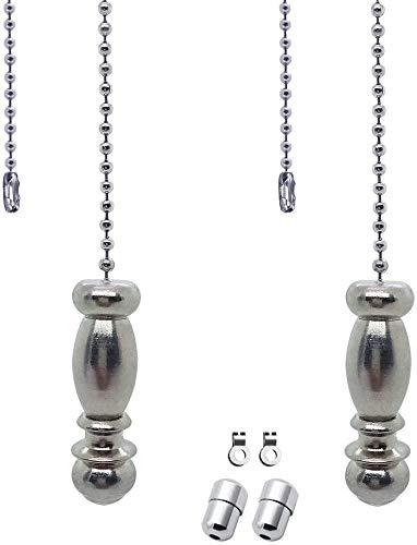 Deckenventilator Pull Chain Set, Verwendet für Badezimmer Toilette Lampe/Deckenlampe Lüfter Schalter, Edelstahl Kette und Pendelleuchte Reißverschluss Verlängerung, Packung mit 2 Stück