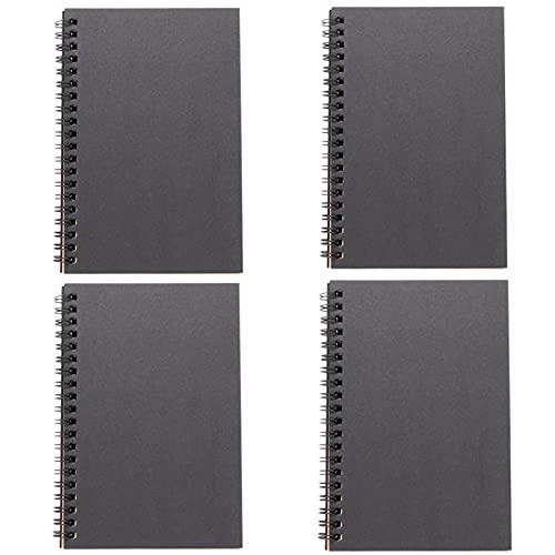 Cuaderno Libretas Espiral, Bloc de Notas en Blanco del Notebook de Bocetos Tapa Dura 100% Reciclados, para oficina, estudiantes, 90 páginas/45 hojas, 4,7'× 7', 4pcs(Color: Black yellow paper)