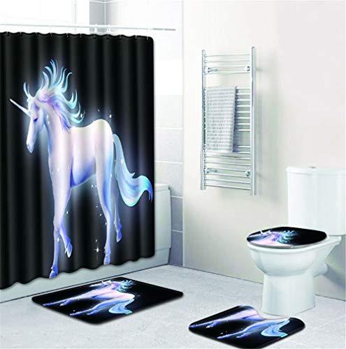 EMG Polyester Faser Badezimmer Vorhang Badezimmer Wolldecken Toiletten Sitz Kissen 16 Stück Satz Kreative Einhorn Serie Ⅱ