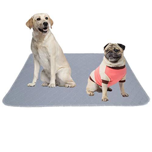 MBJERRY Waschbar Erziehungsunterlage für Hunde wiederverwendbar Puppy Pee Pad wasserdichte Whelping Unterlage Mat Absorbierend Welpenmatte mit Rutschfester Unterseite(L: 86 * 91 cm)