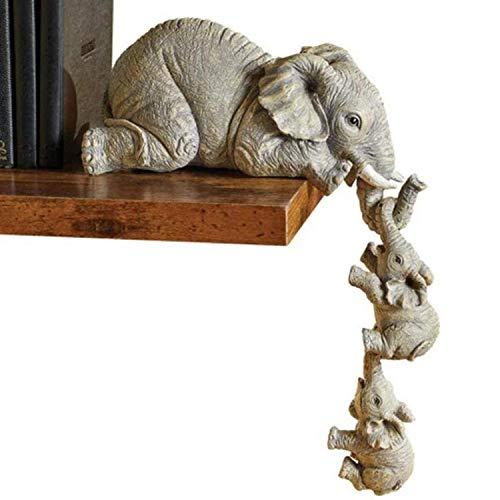 2021new Elephant Sitter Figurines - Juego De 3, Elefante Madre Y Dos Bebés Colgando del Borde De La Mesa del Estante, Elefante Sitter Figuras De Resina Pintadas a Mano para El Día De La Madre