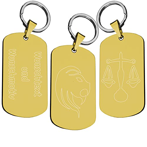 Sternzeichen Schlüsselanhänger aus Edelstahl | Schwarz Silber Gold | Geburtstag Astronomie Esoterik | Schlüssel Anhänger Schlüsselring Ring | Beidseitige Wunschgravur Personalisiert Gold