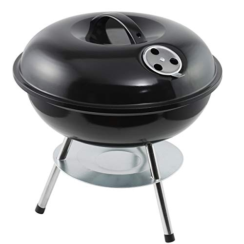 EU-AIRBIN Portable Charcoal Grill, 14 inches Charcoal Barbecue Grill, Kettle BBQ Grill, Black, 14.4