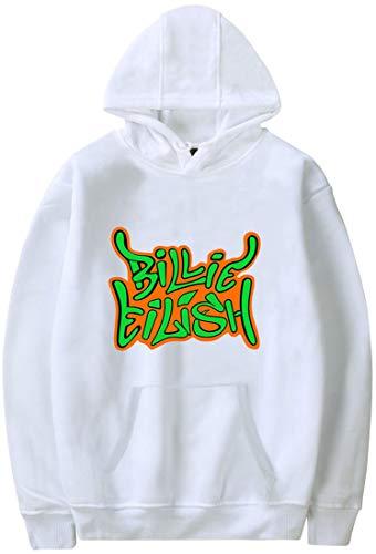 PANOZON Sudadera Billie Eilish Mujer con Capucha Impresa de Logo Hoodie Pull-Over Negra Casual para Chicas Jóvenes Fanes de Billie Eilish (L, Blanco 38)