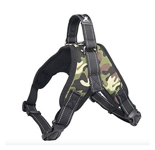 ZYHWS Hundegeschirr, weich, verstellbar, reflektierend, Brustgurt für mittelgroße Hunde, Brustgeschirr, Hundezubehör (Farbe: Camouflage Oxford, Größe: M)