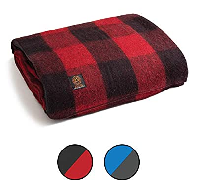 Arcturus Mt. Rainier Wool Blanket - Over 4 Pounds Warm, Heavy, Washable, Large | Great for Camping, Outdoors, Survival & Emergency Kits (Buffalo Check)
