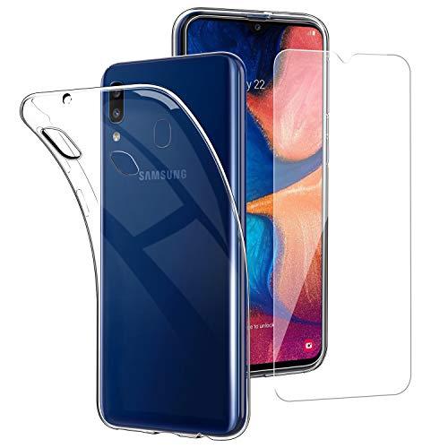 Simpeak Coque Compatible pour Samsung Galaxy A20e Silicone Transparente + Verre trempé écran Protecteur Compatible pour Galaxy A20e - Transparente (5,8 Pouces)