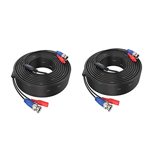 ANNKE 2 x 30 m BNC Cable AHD Video CCTV DVR DC Power para Cámara de vigilancia Videovigilancia Sistema de Vigilancia Negro