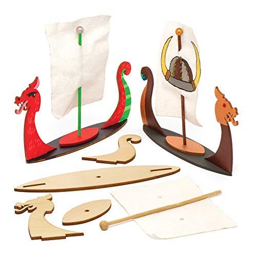 """Baker Ross Langboot-Bastelsets """"Wikinger"""" aus Holz (3 Stück) – für Kinder zum Basteln, Gestalten und als Deko Idee"""