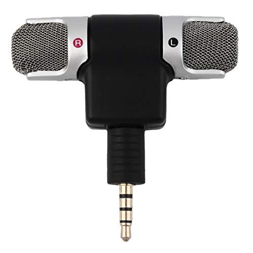 Heaviesk High Performance 3,5 mm Klinke Tragbare Mini Mic Digital Stereo Mikrofon für Recorder Handy Singen Lied Karaoke