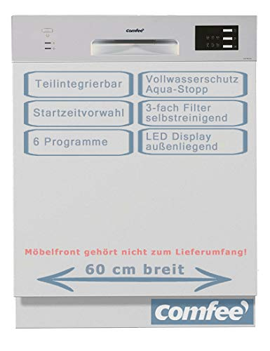 comfee teilintegrierter Geschirrspüler 60cm Aqua Stop, Vollwasserschutz, Startzeitvorwahl, 12 Maßgedecke