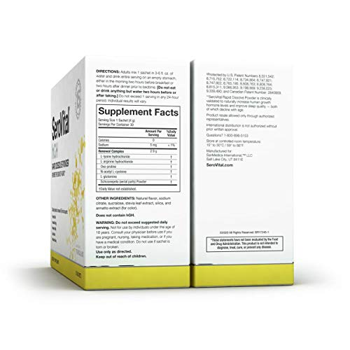 411bgY6CKaL. SL500  - SeroVital Rapid Dissolve Powder, 30 Ct, Tropical Mix - Anti Aging Supplement Boosts Critical Peptide Associated with Increased Energy, Smoother Skin