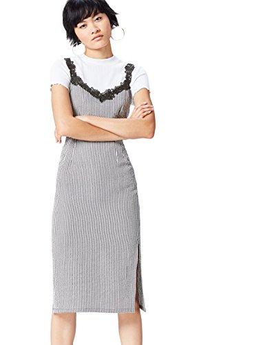 Marca Amazon - find. Vestido Ajustado con Estampado de Cuadros y Encaje para Mujer, Negro (Black/white Check), 38, Label: S