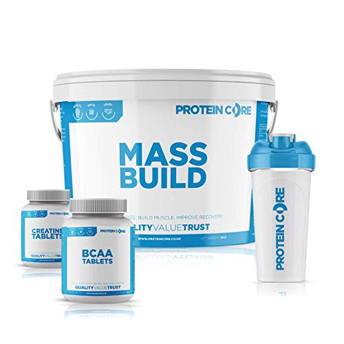 Mass Build Meal Replacement Weight Gainer Powder 4KG - Free Creatine Tablets + BCAA + Shaker - Gain Muscle Size + Best Value - Protein Core (Vanilla Ice Cream)