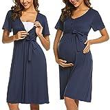 ADOME Frauen Pflege/Geburt/Krankenhaus Nachthemd Kurzarm Nachthemd Umstandsnachthemd mit Knopf Stillnachthemd für Schwangere und Stillzeit, B-dunkelblau, XL
