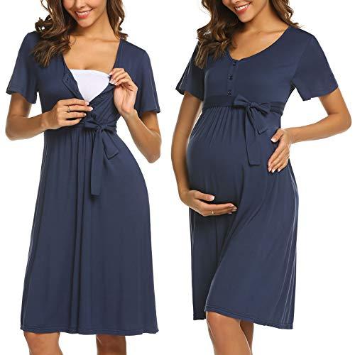 ADOME Frauen Pflege/Geburt/Krankenhaus Nachthemd Kurzarm Nachthemd Umstandsnachthemd mit Knopf Stillnachthemd für Schwangere und Stillzeit, B-dunkelblau, M