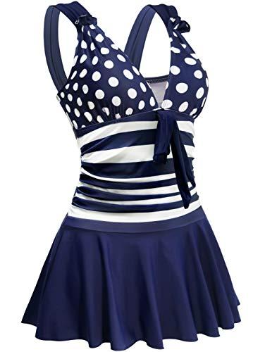 AONTUS Plus Size One Piece Swimsuits Swim Dresses Tie Front with Cutouts Underwire Bra Big Bust Built