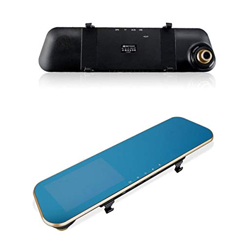 Nosii HD 1080P 170 ° Auto-Videorecorder Doppellinse-Rückspiegel Dash Cam mit 4,3-Zoll-Bildschirm G-Sensor Vorder- und Rückseite der Kamera Unterstützung Loop-Aufnahme