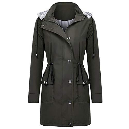 KissYou Lange MäNtel FüR Frauen Outdoor Sportswear Jacke wasserdichte Winddichte Regenjacken Leichte Regenjacke Mit Kapuze Windjacke(#06,S)