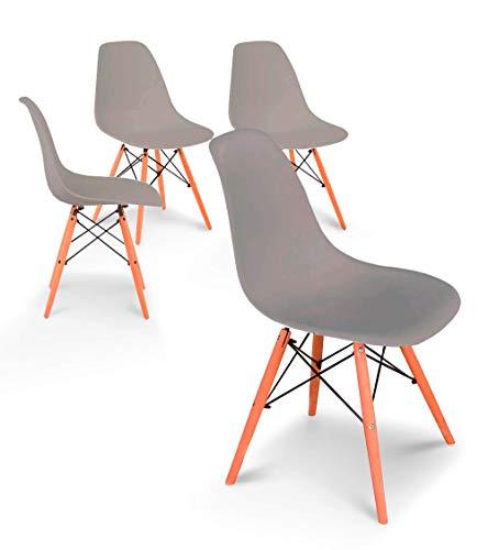 Home Heavenly®- Pack 4 sillas Comedor salón Modelo NÓRDICA, con Pata de Madera, Silla Basic en Blanco o Gris envío Desde España (Gris)
