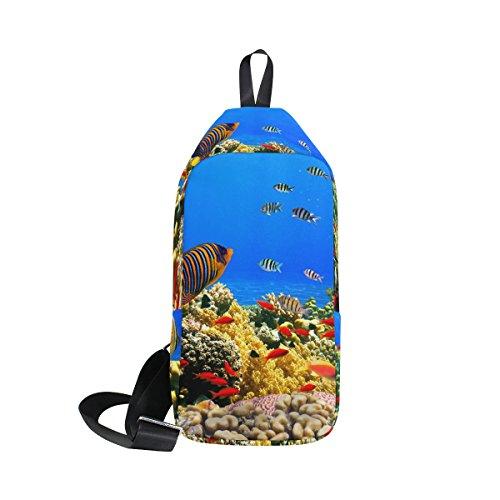 COOSUN Coral Reef Colony Sling Sac à bandoulière Coffre Cross Body Sac à dos léger décontracté Sac à dos pour homme femme