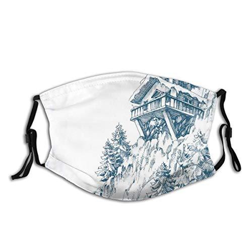 ALLMILL Snowy Winter Landschaftsmalerei Berghütte Holzbau Kiefernwald Staubwaschbarer wiederverwendbarer Filter und wiederverwendbarer Mund Warmes winddichtes Baumwollgesicht