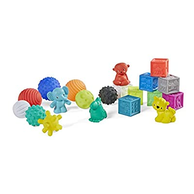 Infantino Sensory Balls Blocks & Buddies - 20 piece basics set for sensory exploration, fine and gross motor skill development and early introduction to colors, counting, sorting and numbers from Infantino